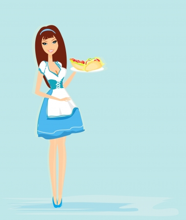 beautiful waitress with a tray  Vector