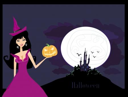 Halloween witch standing with pumpkin Vector