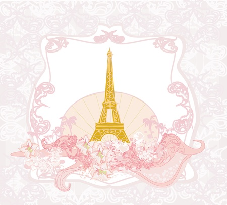 vintage retro Eiffel card  Stock Vector - 14020729