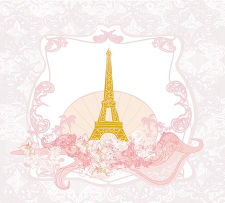 vintage retro Eiffel card Stock Vector - 14020729
