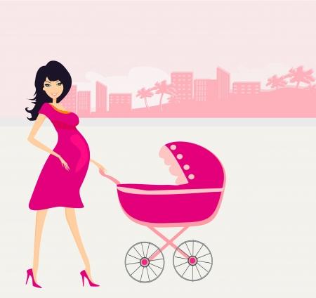hermosa mujer embarazada empujando un cochecito de bebé