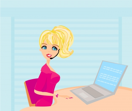 beautiful secretary working with computer Vector
