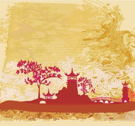 papel viejo con paisaje asiático Ilustración de vector