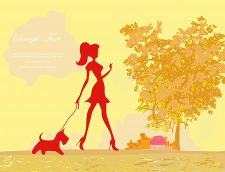 Girl walking with her dog in autumn landscape Stock Vector - 14067911