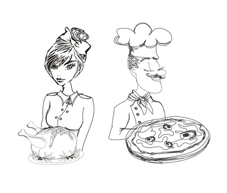 chef with pizza and Waitress serving a chicken       Vector