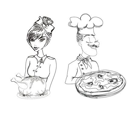 kucharz z pizzy i kelnerka serwująca kurczaka