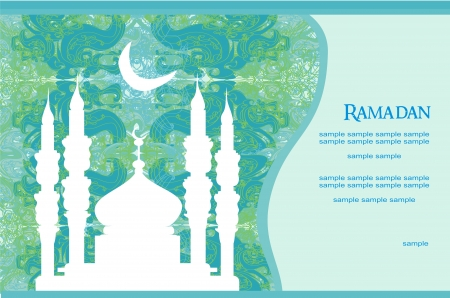Ramadan background - mosque silhouette Vector