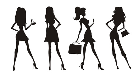 holiday shopping: fashion shopping girls silhouettes