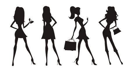 fashion shopping: las ni�as de la moda de compras siluetas Vectores