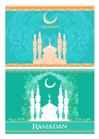 feter: Ramadan background - mosque silhouette vector card set