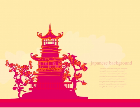 chinese pagoda: old paper with Asian Landscape