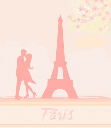 Romantic couple in Paris kissing near the Eiffel Tower  Retro card Stock Vector - 14067918