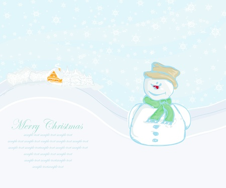 Happy snowman card  Stock Vector - 14067934