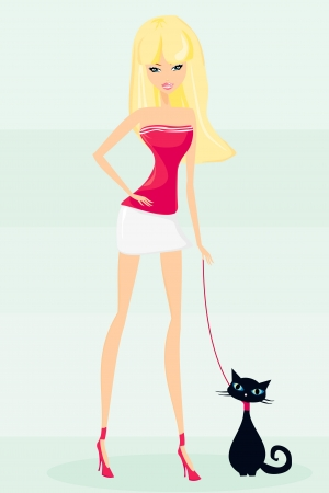 sexy girl and her cat  Vector