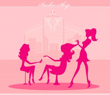 illustration of the beautiful woman in beauty salon  Illustration