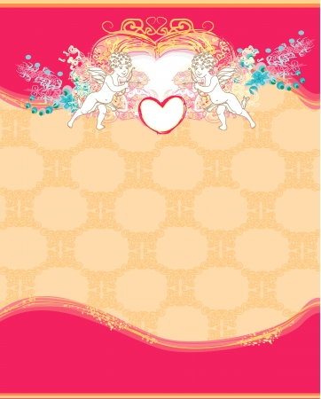 happy valentines day card with cupid Stock Vector - 14057140