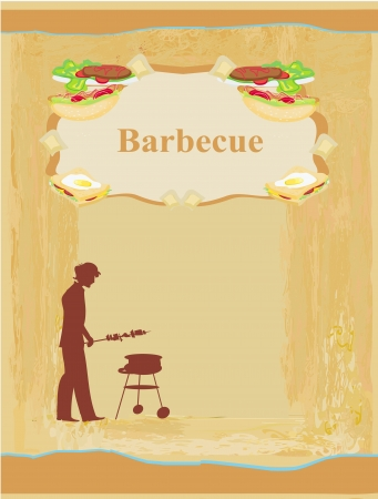 man cooking on his barbecue - Invitation  Vector