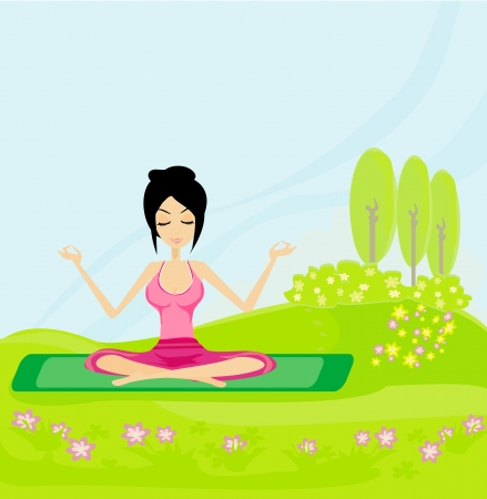 girl sits and meditates Stock Vector - 14057137