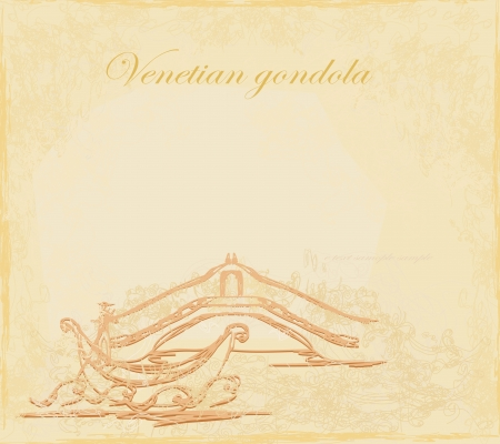 Venetian gondola retro style card vector illustration  Vector