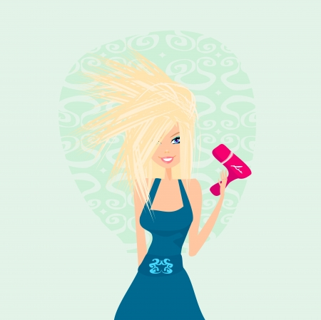 young girl bath: beautiful woman drying her hair by dryer Illustration