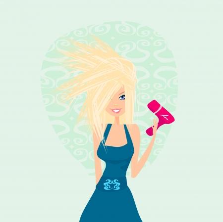 soplar: hermosa mujer sec�ndose el pelo por el secador de