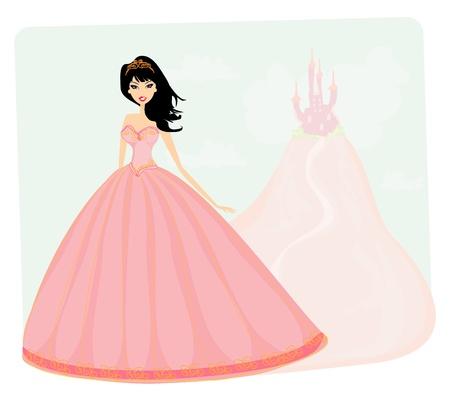 castillos de princesas: La princesa y bella mujer delante de su castillo Vectores