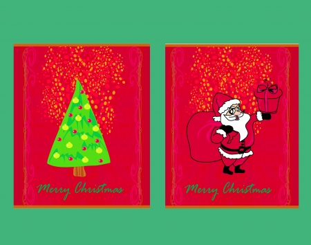 Happy New year cards with Santa and christmas tree Vector