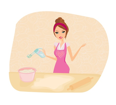 stereotypical housewife: beautiful Housewife cooking