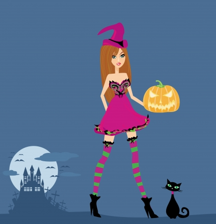 Halloween witch and her cat  Vector
