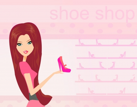 foot gear: Fashion girl shopping in shoe shop vector illustration