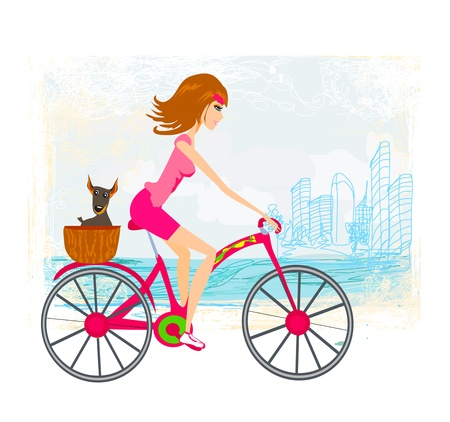woman riding a bike in the city Illustration