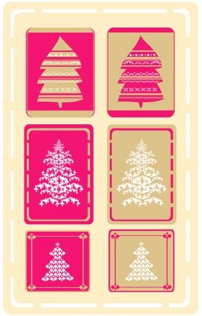 Abstract christmas tree card set Vector