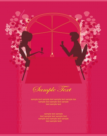 Young couple flirt and drink champagne - invitation card Stock Vector - 14216572
