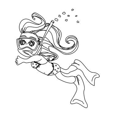 Girl swimming under water - doodle  Stock Vector - 14192078