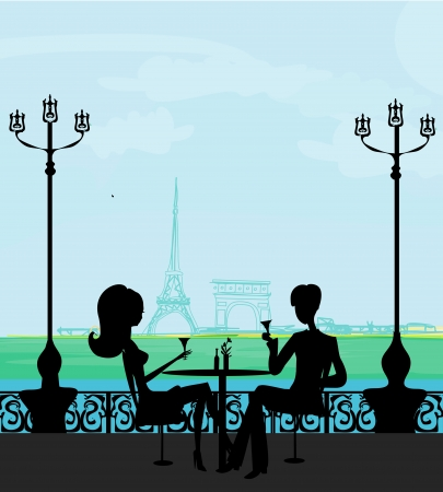 dinning table: Young couple flirt and drink champagne in Paris  Illustration