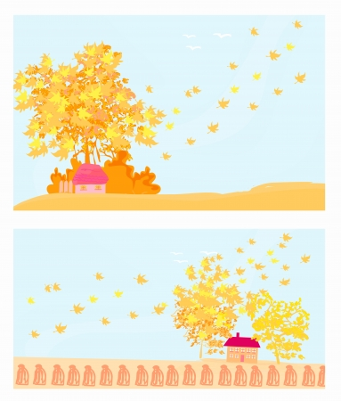 Beautiful autumn landscape set Stock Vector - 14192140