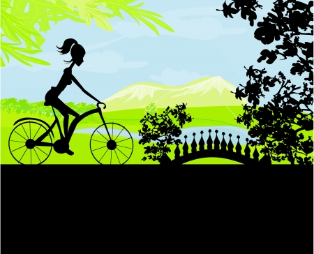 Cycling  Poster with silhouette Girl Vector