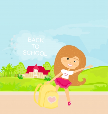 girl going to school Stock Vector - 14192137