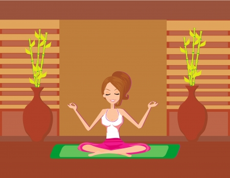 Yoga girl in lotus position Stock Vector - 14192136