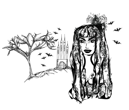 Halloween witch - doodle grunge portrait Stock Vector - 14192138