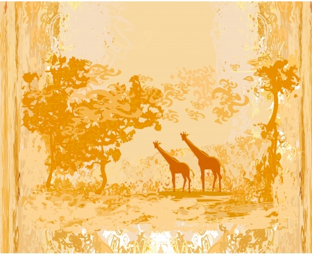 grunge background with African fauna and flora  Vector
