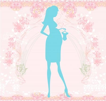 buikje: Mooie zwangere vrouw op winkelen voor haar nieuwe baby-abstracte achtergrond