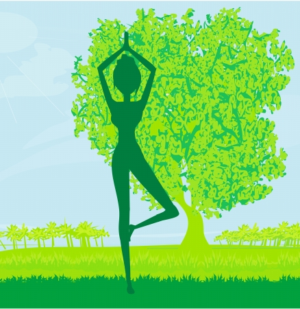 woman in a traditional yoga pose vector illustration Stock Vector - 14216449