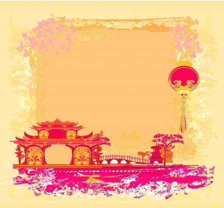 old paper with Asian Landscape and Chinese Lanterns - vintage japanese style background Stock Vector - 14216460