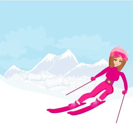 illustration of a young woman skiing down a snow covered mountain under a clear blue sunny sky Vector