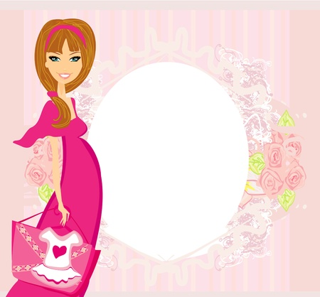 Beautiful pregnant woman on shopping for her new baby Stock Vector - 14248103