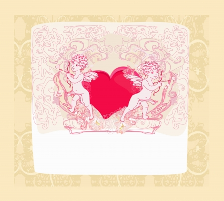 happy valentines day card with cupid Stock Vector - 14248144