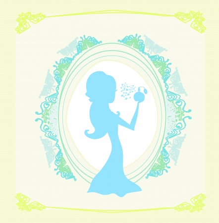 toilette: beautiful woman spraying perfume - silhouette poster Illustration