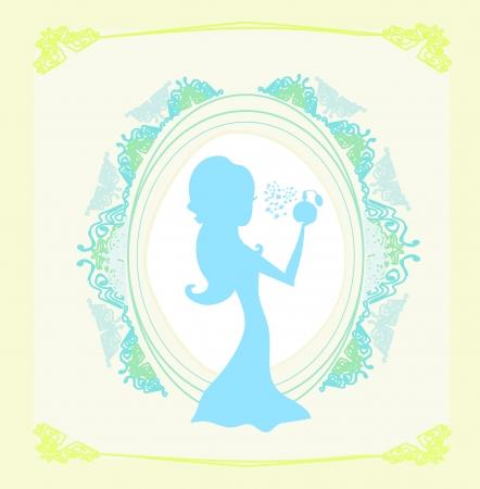 mooie vrouw spuiten parfum - silhouet poster