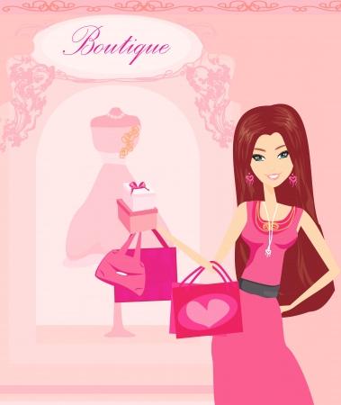 beautiful women Shopping  Vector